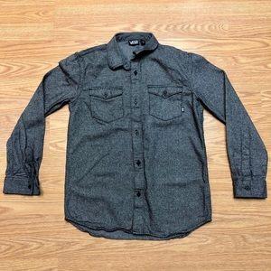 Vans Boys Large Gray Button Down Long Sleeve Shirt